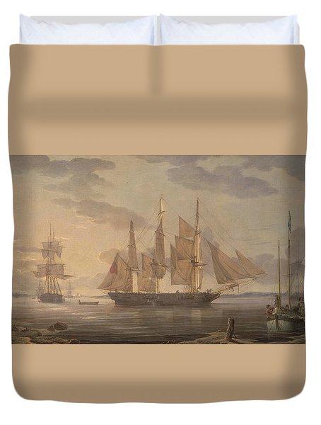 Ships In Harbor Duvet Cover