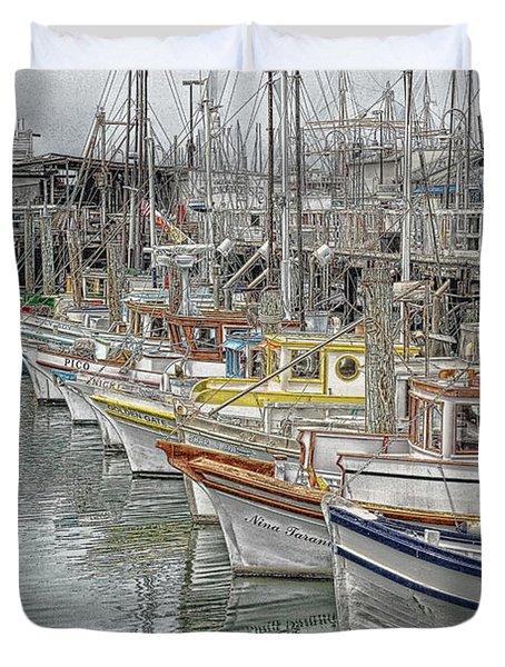 Ships In The Harbor Duvet Cover