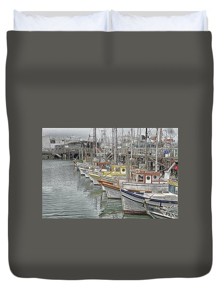 Duvet Cover featuring the photograph Ships In The Harbor by Marie Leslie