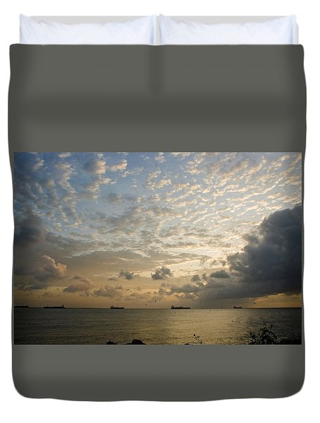 Ships In The Ship Channel.  Duvet Cover