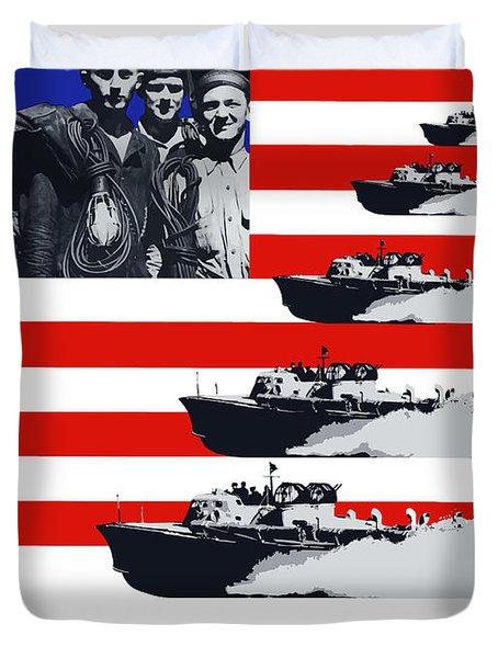 Ships -- Keep 'em Rolling Duvet Cover