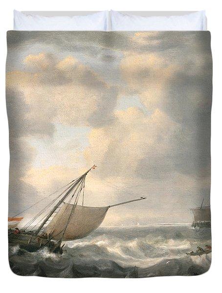 Ships On A Choppy Sea Duvet Cover by Hendrik van Anthonissen