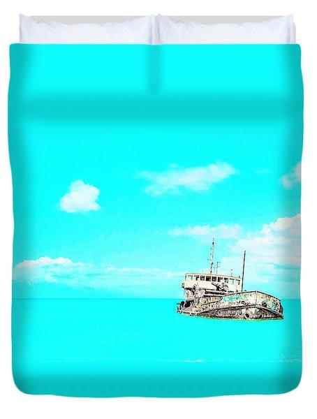 Shipwreck In Blue Duvet Cover
