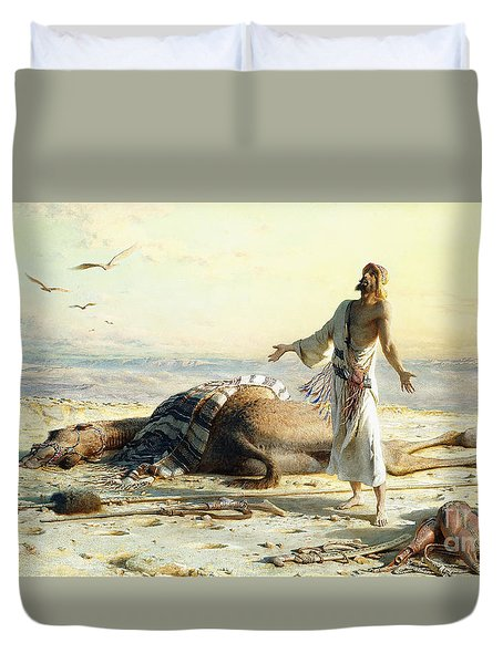 Shipwreck In The Desert Duvet Cover by Carl Haag
