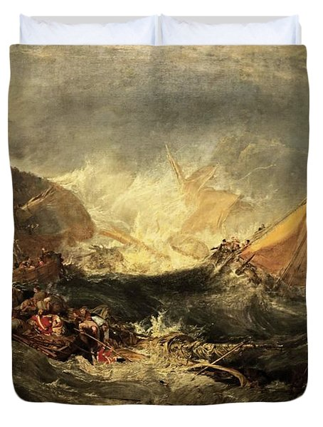 Duvet Cover featuring the painting Shipwreck Of The Minotaur by J M William Turner