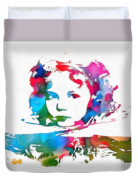 Shirley Temple Watercolor Paint Splatter Duvet Cover by Dan Sproul