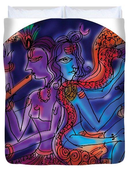 Shiva And Krishna Duvet Cover
