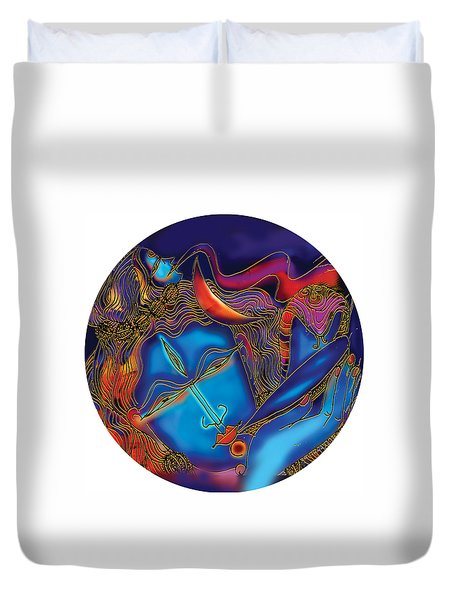 Shiva Blowing The Horn Duvet Cover