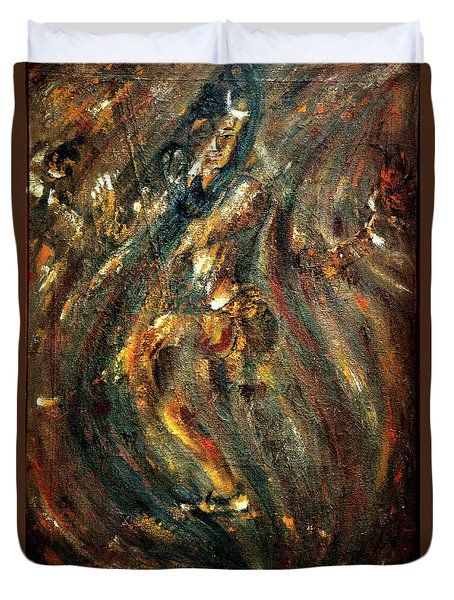 Duvet Cover featuring the painting Shiva Eternal Dance by Harsh Malik