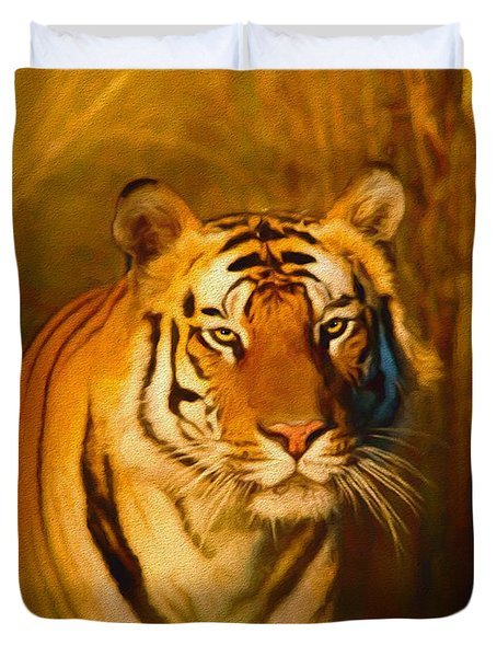 Duvet Cover featuring the painting Shiva - Painting by Ericamaxine Price