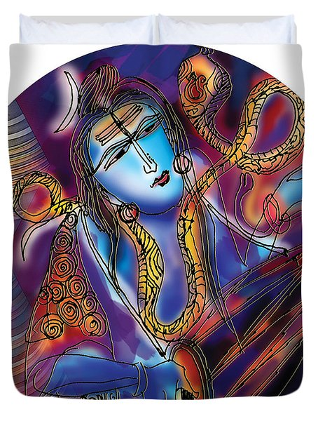 Shiva Playing The Drums Duvet Cover
