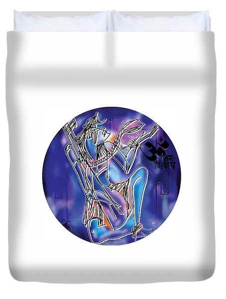 Shiva Playing Vina Duvet Cover