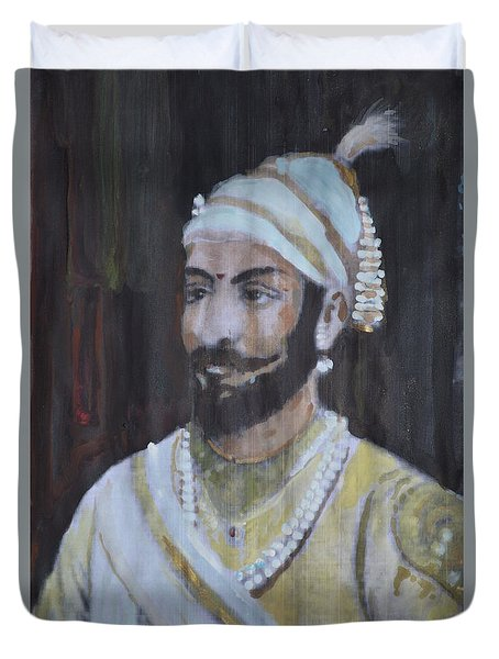 Duvet Cover featuring the painting Shivaji Maharaj by Vikram Singh