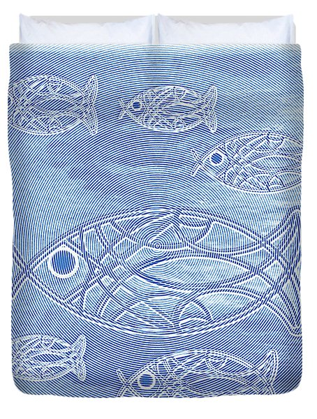 Shoal Of Fish Abstract Duvet Cover