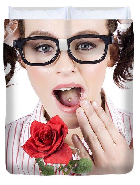 Shocked Romantic Nerdy Girl Holding Red Rose Duvet Cover