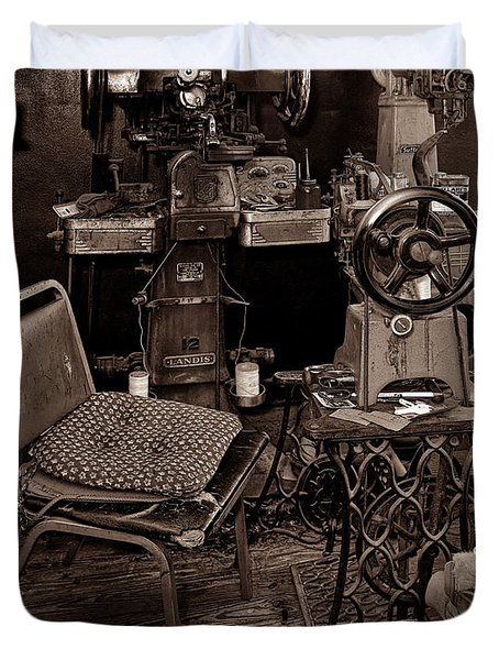 Shoe Hospital - Sepia Duvet Cover by Christopher Holmes