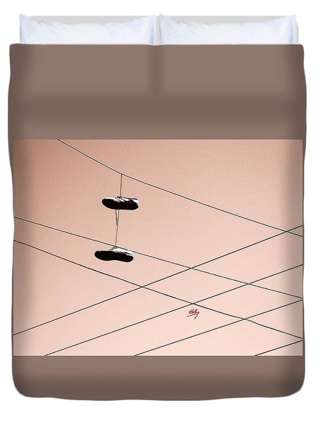 Duvet Cover featuring the photograph Shoes On A Wire by Linda Hollis