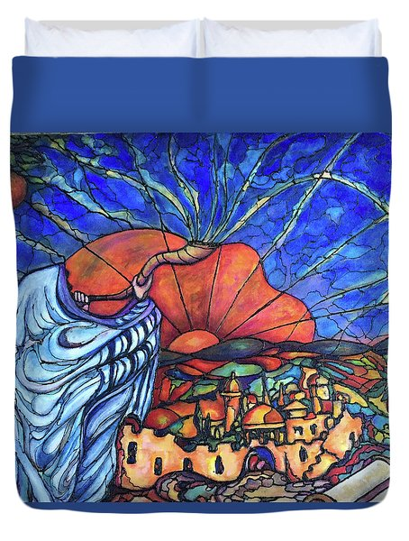Duvet Cover featuring the painting Shofar by Rae Chichilnitsky
