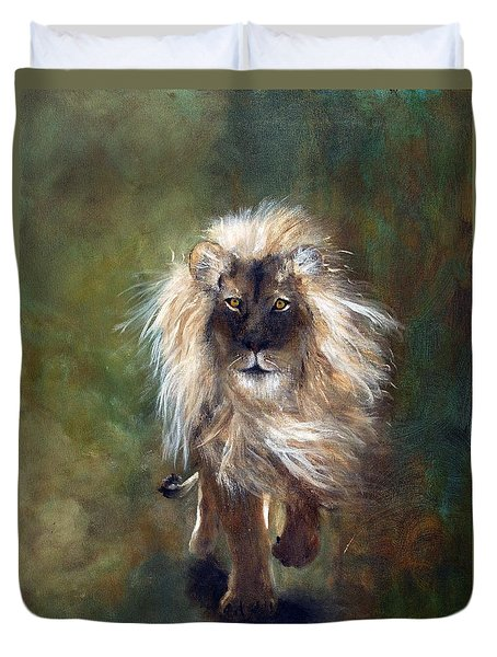 Duvet Cover featuring the painting Shombay The Lion by Barbie Batson