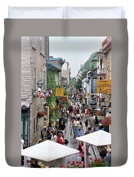 Duvet Cover featuring the photograph Shop Till One Drops by John Schneider