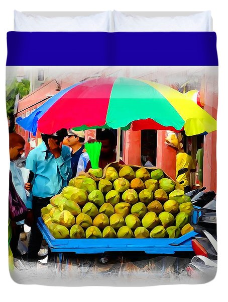 Shopping Market Coconuts Exotic Travel Street Scenes Rajasthan India Series 2 Duvet Cover