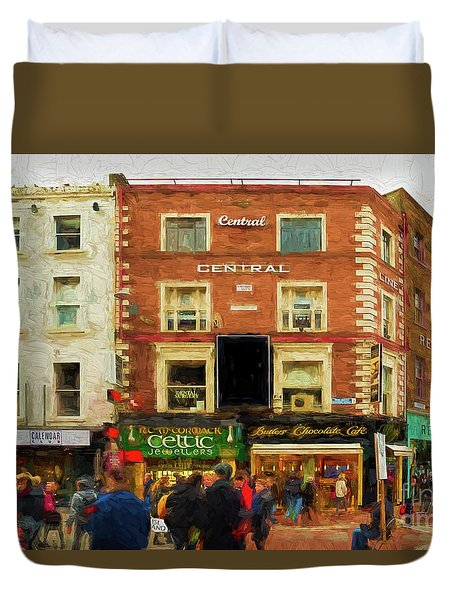shopping on Grafton Street in Dublin Duvet Cover