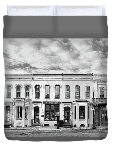 Duvet Cover featuring the photograph Shops by Mitch Cat