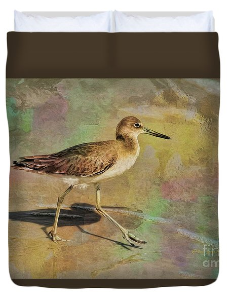 Duvet Cover featuring the painting Shore Bird Beauty by Deborah Benoit