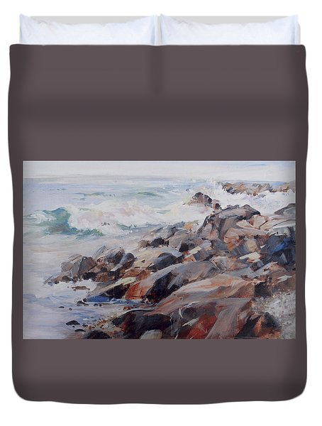 Shore's Rocky Duvet Cover by P Anthony Visco