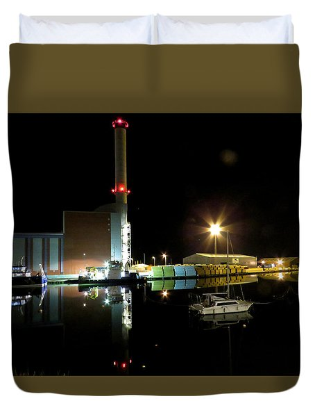 Shoreham Power Station Night Reflection 2 Duvet Cover