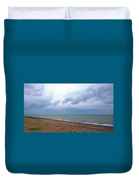 Duvet Cover featuring the photograph Shoreham Shoreline by Anne Kotan