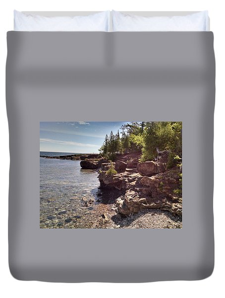 Shoreline In The Upper Michigan Duvet Cover