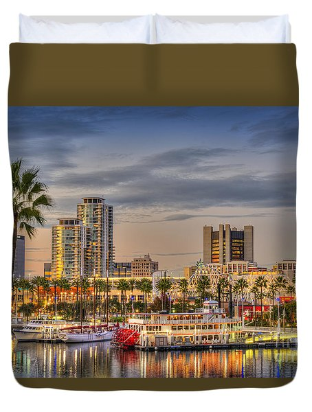 Shoreline Village Rainbow Harbor Marina Duvet Cover by David Zanzinger