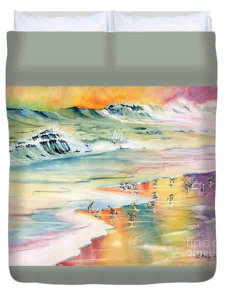 Shoreline Watercolor Duvet Cover by Melly Terpening
