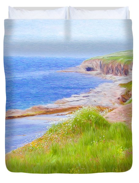Shores Of Newfoundland Duvet Cover by Jeff Kolker