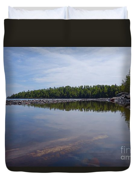 Duvet Cover featuring the photograph Shores Of Superior by Sandra Updyke