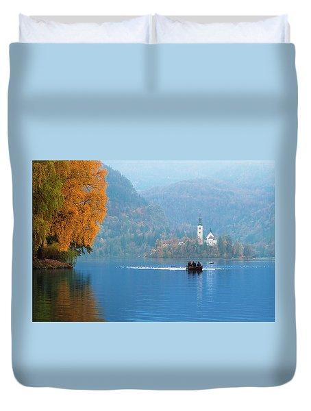 Duvet Cover featuring the photograph Shorewards by Davor Zerjav