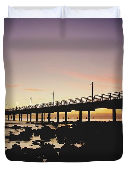 Shorncliffe Pier At Dawn Duvet Cover