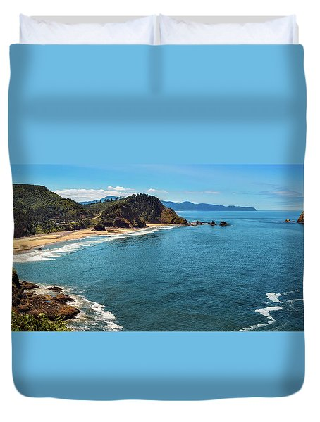 Short Beach, Oregon Duvet Cover
