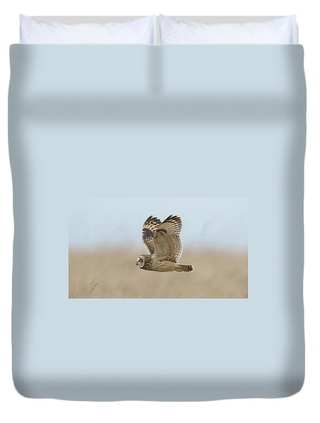 Short-eared Owl Hunting Duvet Cover