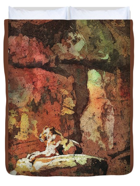 Duvet Cover featuring the painting Short Reprieve by Ryan Fox