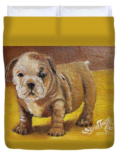 Chloe The   Flying Lamb Productions      Shortstop The English Bulldog Pup Duvet Cover