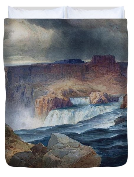 Shoshone Falls Idaho Duvet Cover by Thomas Moran
