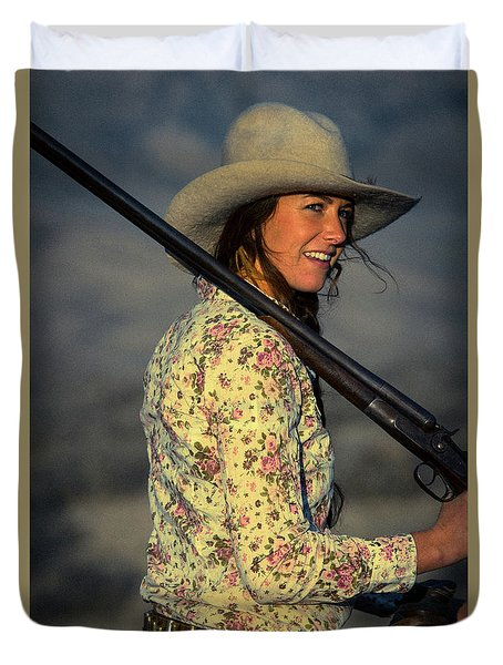 Shotgun Annie Western Art By Kaylyn Franks Duvet Cover