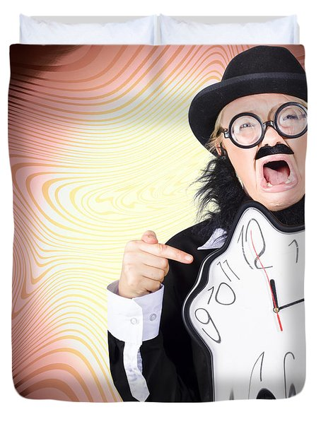 Shouting Businessman Stressed From Rush Hour Duvet Cover by Jorgo Photography - Wall Art Gallery