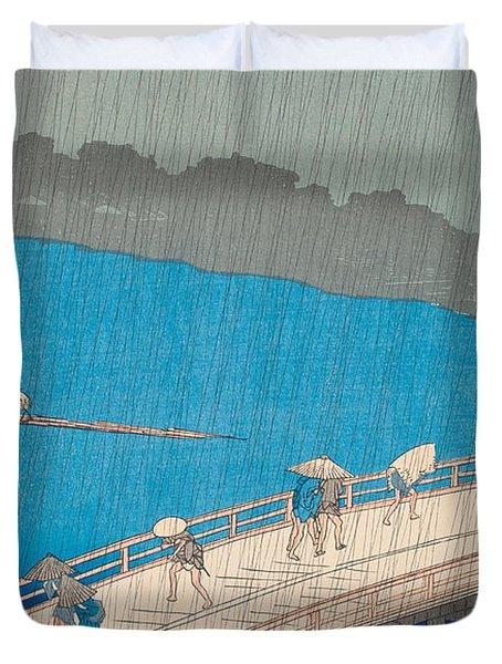 Shower Over Ohashi Bridge Duvet Cover