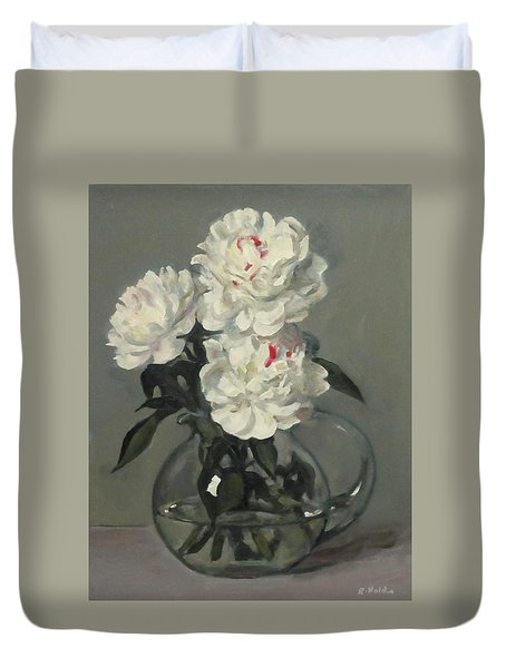 Showy White Peonies In Glass Pitcher Duvet Cover