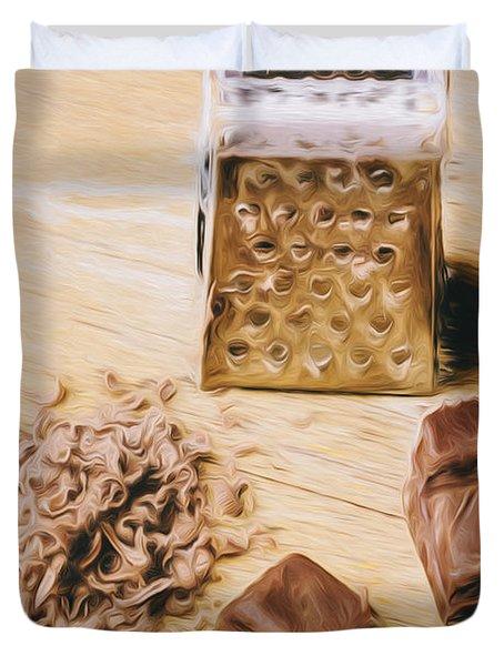 Shredded Chocolate Flakes Fine Art Drawing Duvet Cover