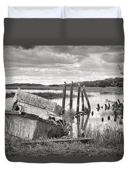 Shrimp Boat Graveyard Duvet Cover by Scott Hansen