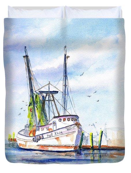 Shrimp Boat Gulf Fishing Duvet Cover